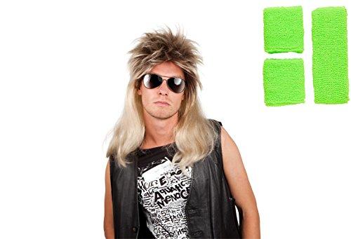 Panelize® 80er Jahre Vokuhila Perücke und Schweißband Stirnband Set 4 Farben wählbar (grün)