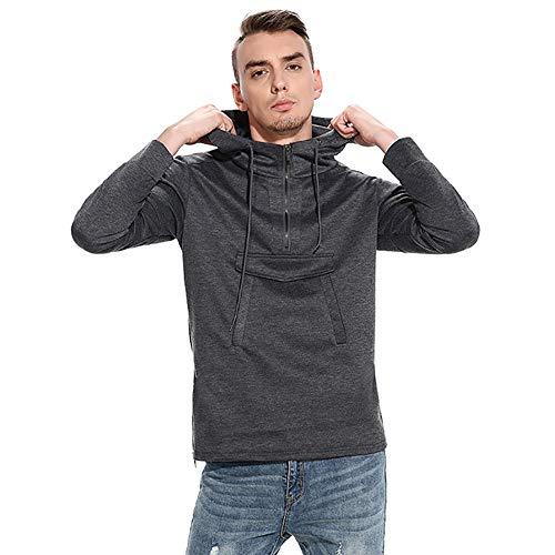 OSYARD Herren Half-Zip Schwarz Kapuzenpullover Hoodie, Langarm Herbst Winter Sweatshirt Pullover mit Kapuze Reißverschluss Kapuzenjacke Outwear (S, Deep Grau) -