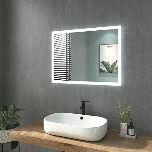 WELMAX Badspiegel mit Beleuchtung 80x60cm Badezimmerspiegel mit Beleuchtung LED Badspiegel Kaltweiß Lichtspiegel Wandspiegel mit Touchschalter IP44 Energiesparend