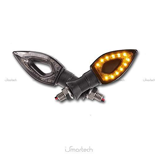 2Indicadores intermitentes universales para moto, 12LED de 1W, luz intermitente, color ámbar,...