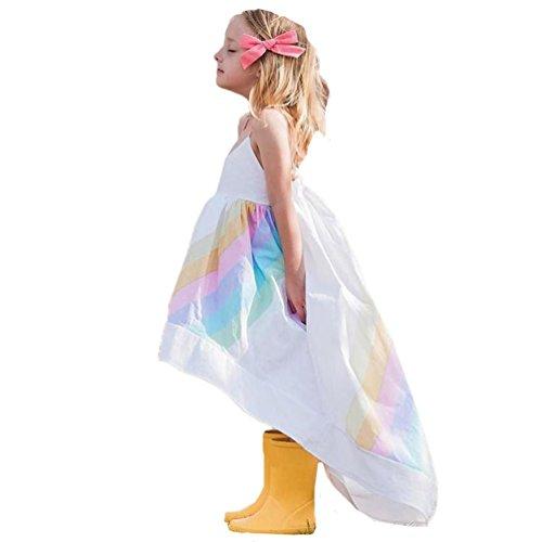 Mädchen Regenbogen Prinzessin Kleid ❤ TPulling Mode Frühling Sommer Mädchen Kleinkind Ärmellos Regenbogen Print Strap Riemen Druck Kleid Casual Prinzessin Party Formal Outfits Kleid (Weiß, 4T=120)