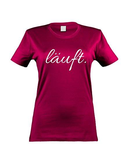 klamottenkiste24 Damen T-Shirt läuft..., sorbet, Gr. S (Team Gehen Gehen Kostüm)