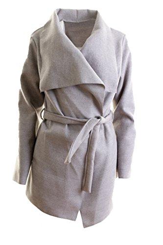 Damen Mantel Trenchcoat mit Gürtel One Evaluate Kurz (hellgrau)