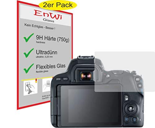 2X EnWi Glass Panzerfolie 9H HÄRTE Displayschutzfolie für Canon EOS 200D - Eos Kamera-ladegerät Canon