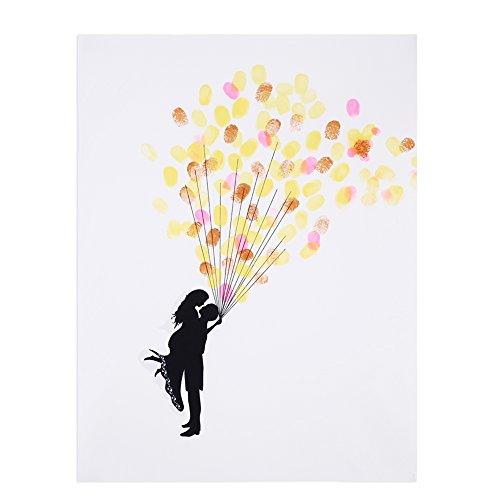 DIY Hochzeit Fingerabdruck Baum Leinwand Unterschrift Gästebuch Mit 6 Farben Tinte für Hochzeit Geburtstag Party(HK028)