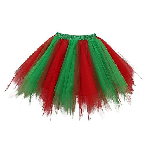 Crinkle-jeans-rock (Honeystore Damen's Neuheiten Tutu Unterkleid Rock Ballet Petticoat Abschlussball Tanz Party Tutu Rock Abend Gelegenheit Zubehör Rot und Grün)