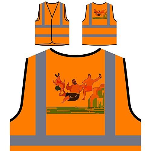 Jungen Und Mädchen Wasserfälle Personalisierte High Visibility Orange Sicherheitsjacke Weste r424vo (Herren-wasserfall)