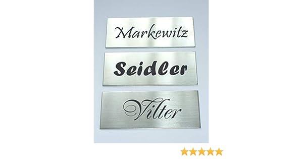 Edelstahl,V2A,Klingelschild,Namensschild,T/ürschild 80x40 mm Selbstklebend Briefkastenschild