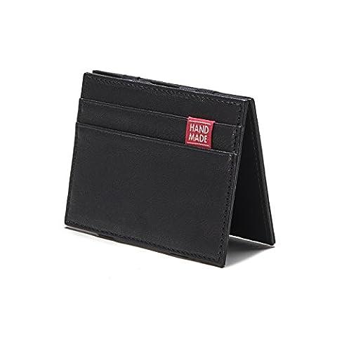 Magic Wallet – DER FLACHMANN Geldbeutel – Herren Geldbörse aus schwarzem Echtleder (12 Magische Münze)