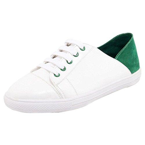 TAOFFEN Femmes Mode Plates Escarpins Chaussures green