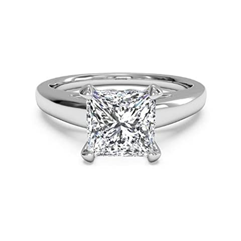 2.00 Ct Diamond Engagement Ring Solid Princess Cut 14K White Gold Size K (Q)