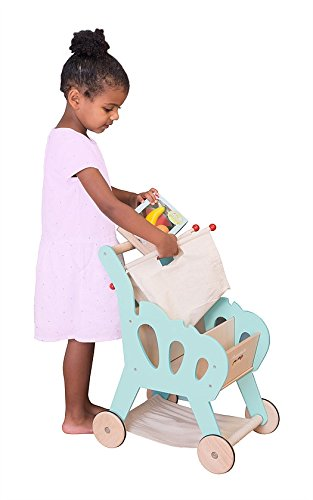 Unbekannt Einkaufswagen mit Abnehmbarer Stofftasche / Material: Holz + Stoff / Gewicht: ca. 4 kg / Maße: 41 x 29 x 55 cm / für Kinder ab 3 Jahren