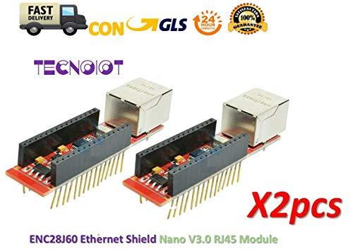 TECNOIOT 2pcs ENC28J60 Ethernet Shield HR911105A Shield Nano V3.0 RJ45 Webserver Module