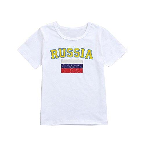 Mädchen-Jungen-Fußball-Fußball Russland übersteigt T-Shirt Kleidung (Baby Mädchen Fußball Kostüm)