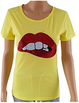 Verano Camisetas Mujer Sudaderas Moda Lentejuelas Labios Rojos Blouses T-Shirt Blusa Casual Cuello Redondo Manga...