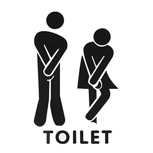 Wangc WC-Plakette WC-Aufkleber lustige Toilette Eingang Zeichen Aufkleber Vinyl Englisch Aufkleber (schwarz)