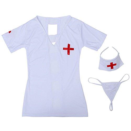 SODIAL(R) G-String + Hut + Krankenschwester Tuch Weiss -