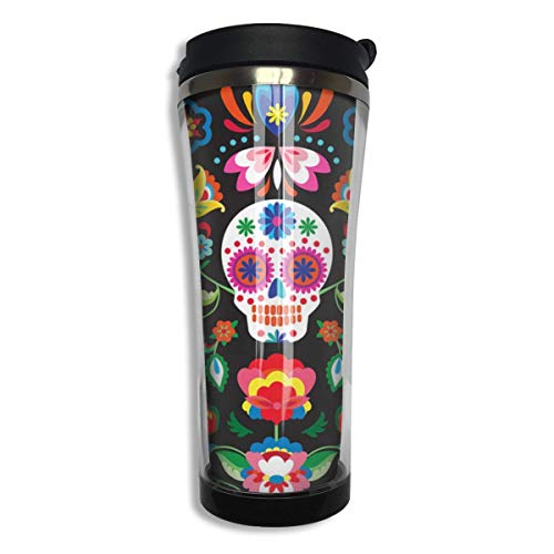 Stainless Tumbler Travel Mug Mexican Sugar Skulls Day of The Dead Flowers Gift Food Grade ABS Mug Insulated Both Cold & Hot Beverage Cup -420 Ml Men,Women Ss-travel Mug