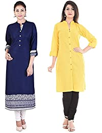 Prateek Exports Exclusive Collections Solid Rayon Women Kurti And Cotton Kurti With 3/4th Sleeves Combo Set Of 2