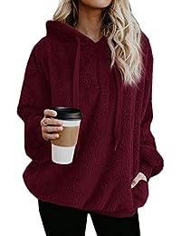 2d53c38a045e ZIYYOOHY Damen Casual Winter Kapuzenpullover Teddy-Fleece Langarm Oversize Sweatshirt  Hoodie Einfarbig Warm (Größe
