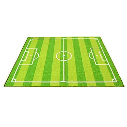 OOFIT Teppich Kinderzimmer Fußball Spielteppich Kinderteppich Fußballplatz Grün, 130CM*180CM (Fußball Teppiche)