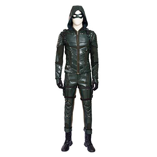 nihiug Arrow Cosplay-Kostüm für die fünfte Staffel mit dem gleichen Lederanzug, Pfeil und Bogen Jacke, Recurve Bogen - Arrow Staffel 4 Kostüm