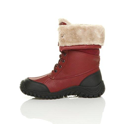 Femmes talon bas fourrure lacets hiver neige bottes mollet cheville pointure Bordeaux rouge foncé