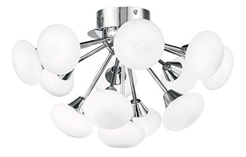 Fan europe i-jupiter/pl13 plafoniera con luci sferiche a led cromate, vetro/alluminio, 2.5 watts, bianco
