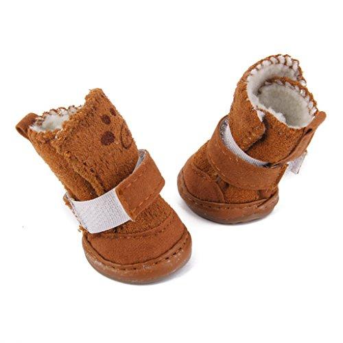 Scarpe-Calde-Passi-Del-Cane-Da-Compagnia-Accogliente-Boots-Vestiti-Abbigliamento-3-Tan