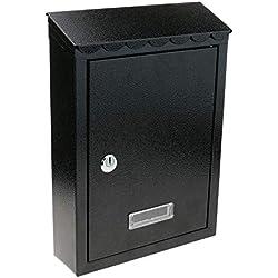 PrimeMatik - Boîte aux Lettres métallique coloré Noir pour Mur 210x60x300mm