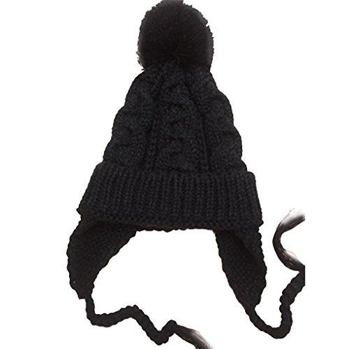 Bobury Kinder Kinder stricken Hut Ohr schützen Solid Color Ohrenklappen Cap Boy Girl Herbst Winter warme Mütze Motorhaube (Gestrickt Solid Color)