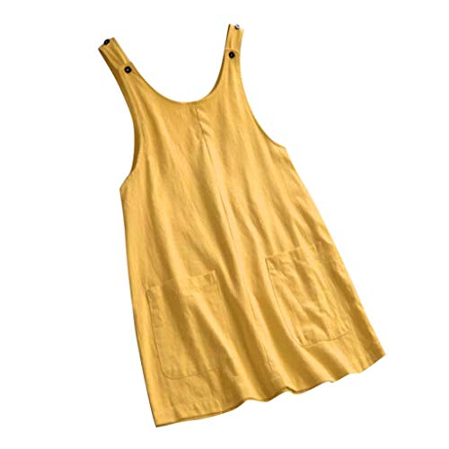 COZOCO 2019 Frauen-Sommer-beiläufige Kleid-Baumwollärmelloses Leinenkleid-Taschen-festes Boho Kleid-Overall-Kurzschluss-Minikleid Pinafore