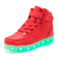 Aizeroth-UK LED Light up Trainers 7 Colors Luminous Flashing USB Charge Breathable Sport Running Shoes High Top Dancing Gymnastic Tennis Sneakers Best Gift for Boys and Girls Birthday Red