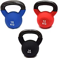 FXR SPORTS CAST IRON SET OF 10/12/14kg KETTLEBELLS WITH RUBBER SLEEVE HOME GYM