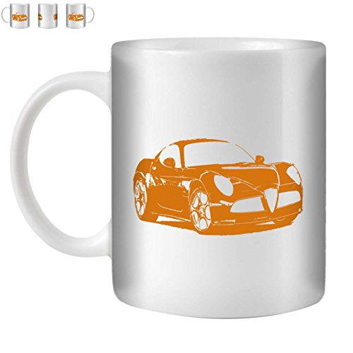 Stuff4 Tasse de Café/Thé 350ml/Orange/Alfa 8C Competizione/Céramique Blanche/ST10