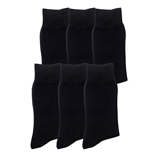 6 Paar Herrensocken aus Baumwolle schwarz oder dunkelblau , elegante Socken in 6er Pack aus Baumwolle, für Business oder Freizeit , kein Naht, blickdicht, keine Druckstellen an Bein (43-46, Schwarz) -