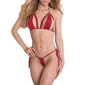 ABsoar Sexy Neckholder Bikini BH Set Damen Erotikwäsche Schöne Push Up Büstenhalter Unterwäsche Reizwäsche Lingerie ModeBustier Sexy Dessous Set Mit G String Unterwäsche