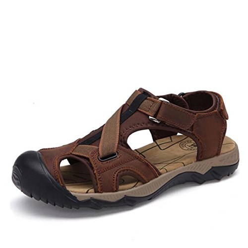 Men's Soft Leather Handmade Outdoor Beach Sandals Dark Brown