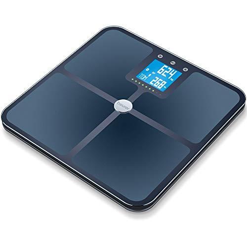 Beurer BF 950 Black Diagnosewaage, Messung von Körperfett, Körperwasser, Muskelanteil und Knochenmasse, Berechnung von Kalorienbedarf und BMI, inklusive App-Anbindung mit zertifiziertem Datenschutz