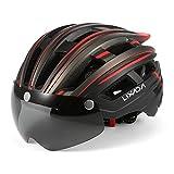 Lixada Mountain Bike Helmet Casco da Motociclismo con Luce Posteriore Staccabile Visiera Magnetica UV Protettiva
