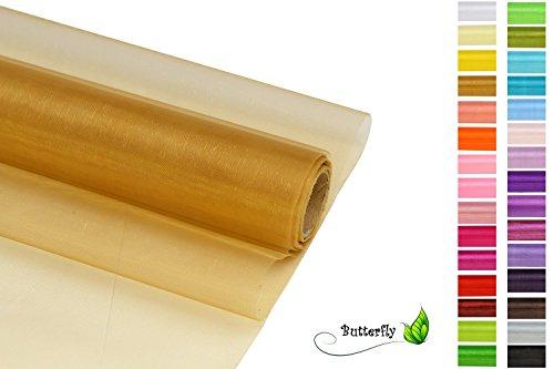Creativery 9m Rolle Organza 36cm (Gold 687) // Tischläufer Deko Stoff Band Hochzeit Tisch Schleifenband Floristik