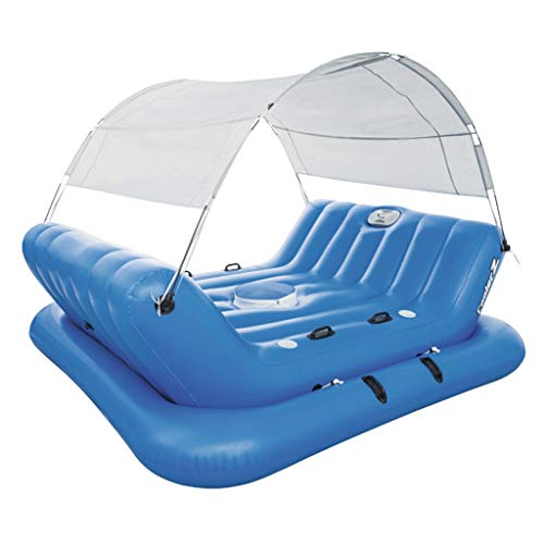 Schwimmendes Bett Aufblasbare Poolspielzeug Ozeanparadies Wasserbett Strandmatte Aufblasbarer Sessel Tragendes 360kg Geeignet Für 4 Personen (Color : Blue, Size : 272 * 196cm)