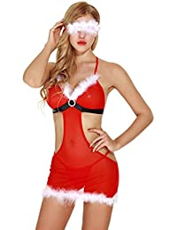 URSING Mère Noel Femme Lingerie Deguisement Ensemble de Lingerie tenue de Noël pour femme Floral Bodysuit Nuisette Ouvert Entrejambe Vêtements de nuit Robe de nuit Mini avec Lingerie Robe