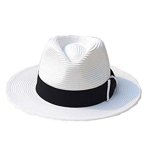 Dyong Sonnenhut Hut-Sommer-weiblicher Strohhut-weißer Sonnenschutz-Strand-Hut-Wilder Hut (Weiße Matrose Hut)