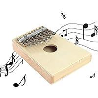 10 Finger clave Mbira Kalimba Pulgar Piano de madera de pino mini portátiles regalos Marimba instrumento musical de percusión Para el principiante (color de la madera)