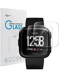 Qoosea Schutzfolie für Fitbit Versa (2 Stück) Panzerglas Schutzfolie 9H Härte, Anti-Öl, Kratzer und Blasenfrei, Gehärtetes Glas Displayschutzfolie für Fitbit Versa