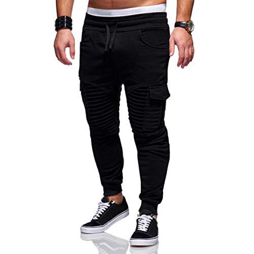 KPILP Men Mode New Herbst Kordelzug Individualität Jogginghose Locker lässig Elastische Jogging Sport Solid Baggy Pockets Hosen (Schwarz, XL)