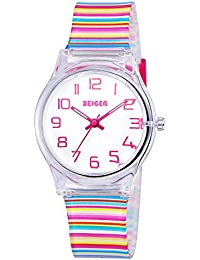 Zeiger Kids Watches Sports Watch for Girls and Boys Lovely Student Watch Resin Strap Watch Best Gift for Child (Rainbow KW036)