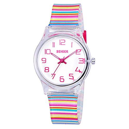 Zeiger Kinderuhr Mädchen Armbanduhr Mehrfarbig Analog Quarz Uhr Mädchen Uhr Regenbogen KW036