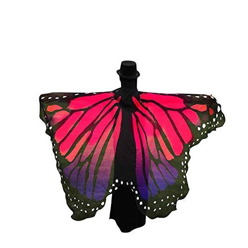 WOZOW Damen Schmetterling Flügel Kostüm Nymphe Pixie Faschingkostüme Umhang Schals Poncho Kostümzubehör Zubehör (Heißes Rosa)